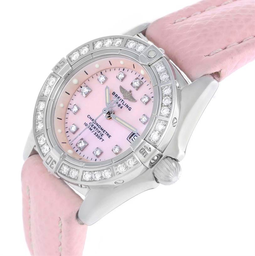 Breitling Callisto Pink Mother of Pearl Diamond Ladies Watch A72345 SwissWatchExpo