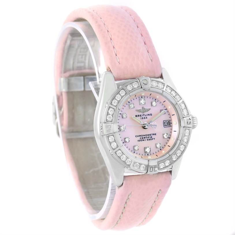 11848 Breitling Callisto Pink Mother of Pearl Diamond Ladies Watch A72345 SwissWatchExpo