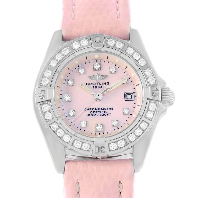 Breitling Callisto Pink Mother of Pearl Diamond Ladies Watch A72345 SwissWatchExpo