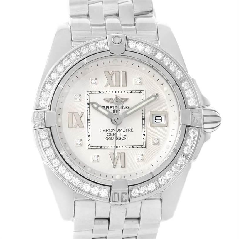 12029 Breitling Cockpit Diamond Dial Bezel Womens Watch A71356 Box papers SwissWatchExpo