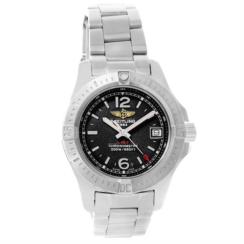 12039 Breitling Colt Lady Black Dial Steel Womens Watch A77388 Unworn SwissWatchExpo