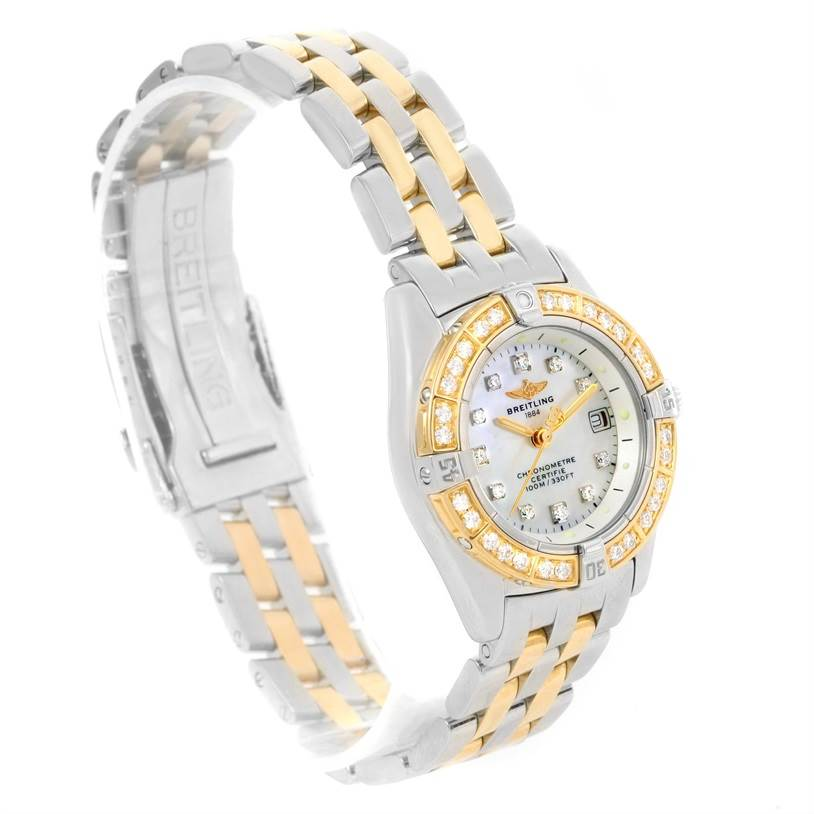 12482 Breitling Windrider Calisto Steel 18K Yellow Gold Diamond Watch D72345 SwissWatchExpo