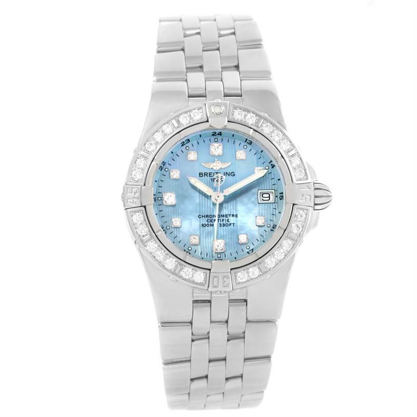 Breitling Starliner Mother of Pearl Diamond Watch A71340 Box Papers SwissWatchExpo
