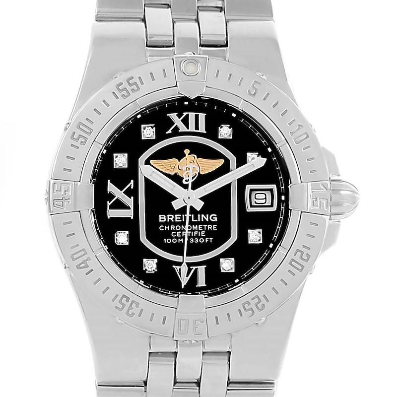 Breitling Starliner Black Diamond Dial Steel Ladies Watch A71340 SwissWatchExpo