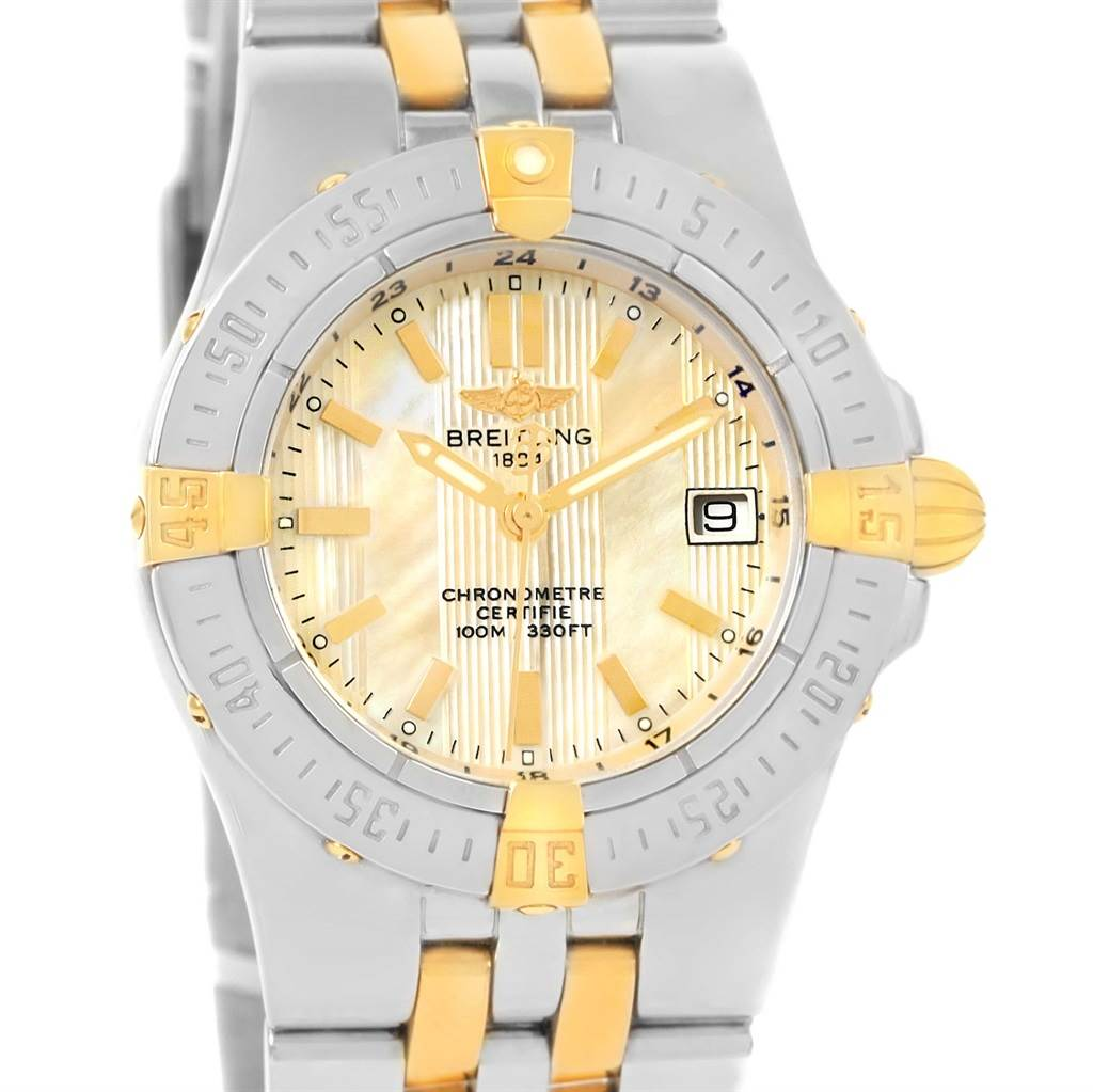 13812 Breitling Starliner Steel 18K Yellow Gold MOP Dial Ladies Watch B71340 SwissWatchExpo