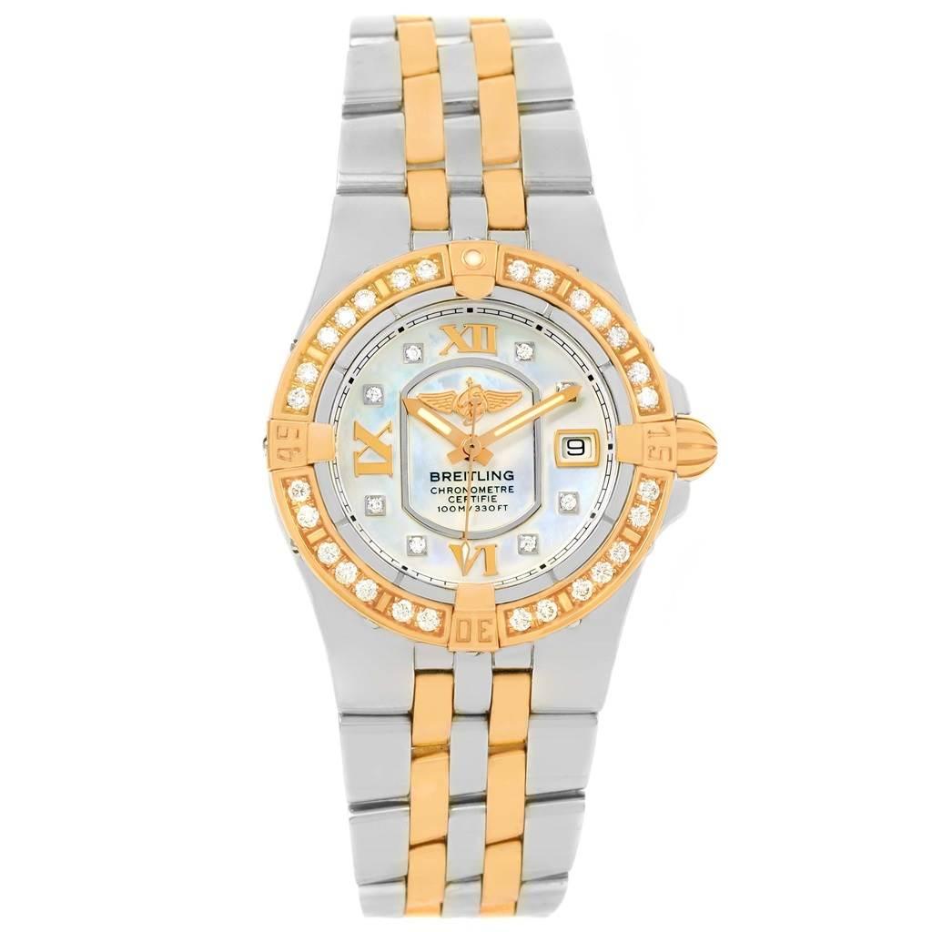 13813 Breitling Galactic 30 Ladies Steel 18K Rose Gold Diamond Watch C71340 SwissWatchExpo