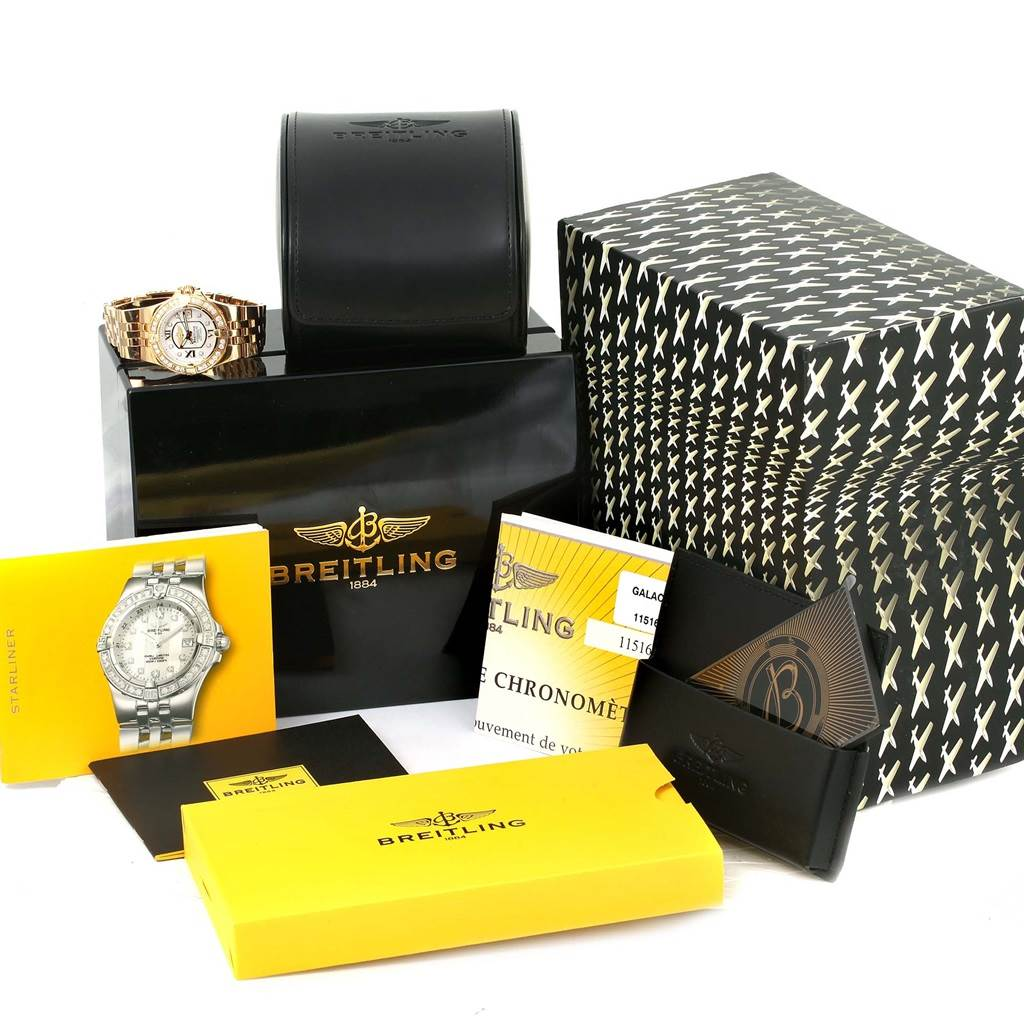 13811 Breitling Starliner 30 Mother of Pearl Diamond Watch H71340 Box Papers SwissWatchExpo