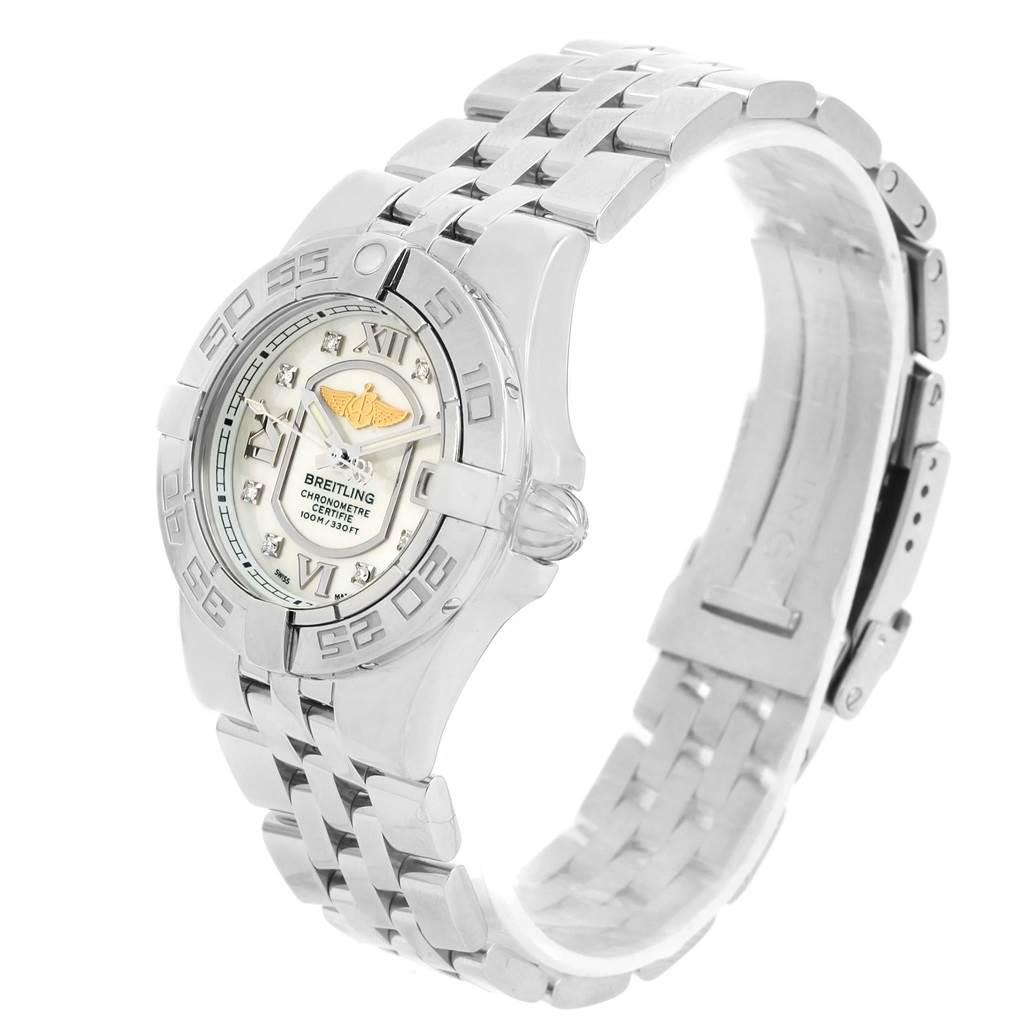 13814 Breitling Starliner Mother of Pearl Diamond Dial Ladies Watch A71340 SwissWatchExpo