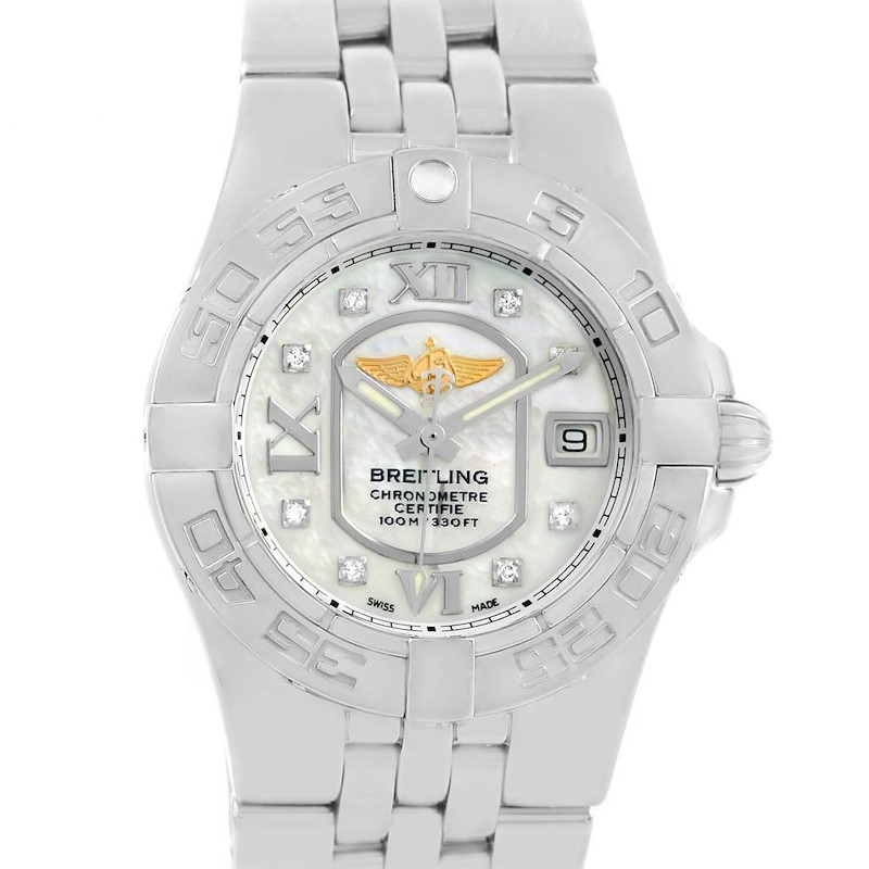 Breitling Starliner Mother of Pearl Diamond Dial Ladies Watch A71340 SwissWatchExpo