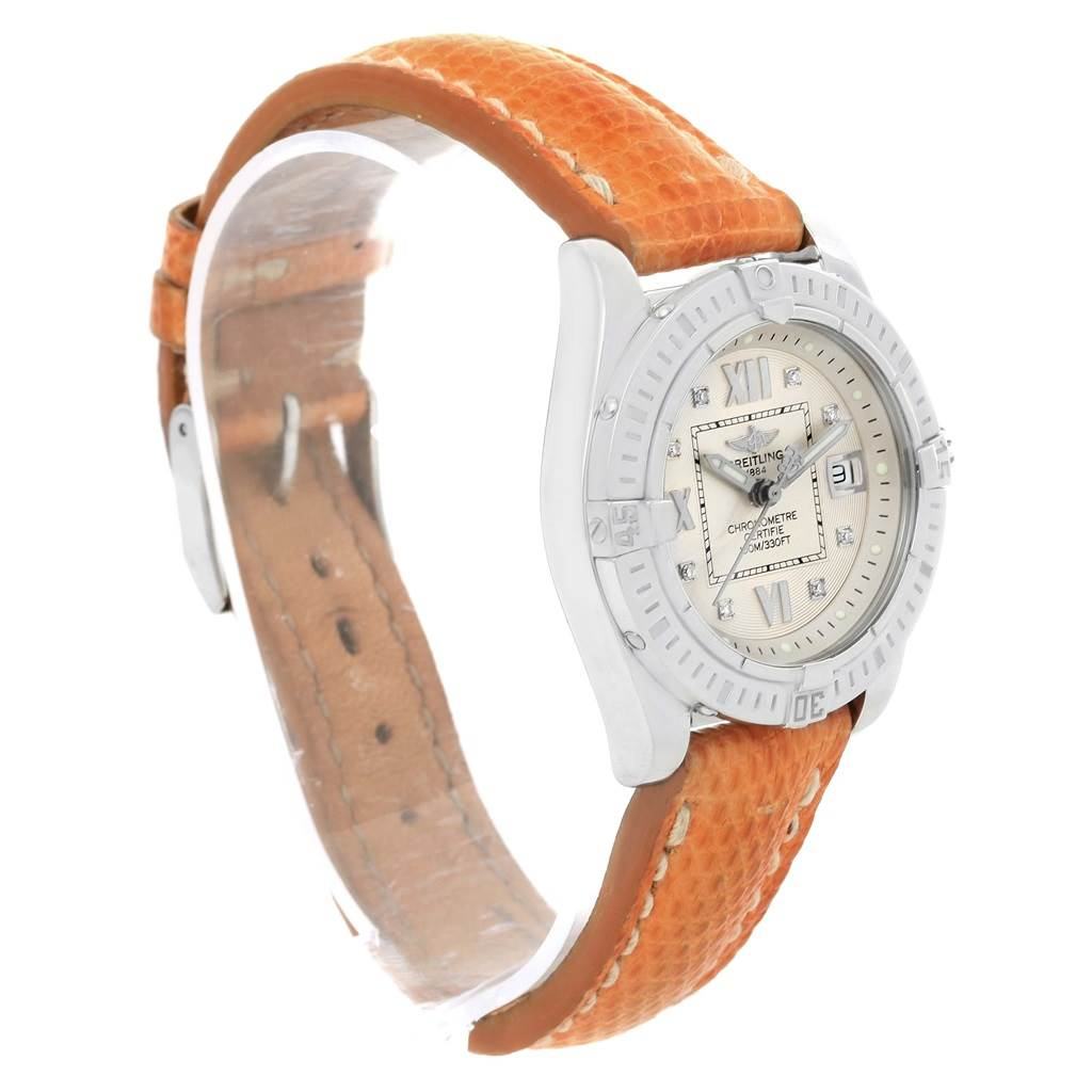 13491 Breitling Windrider Cockpit Diamond Dial Brown Strap Ladies Watch A71356 SwissWatchExpo
