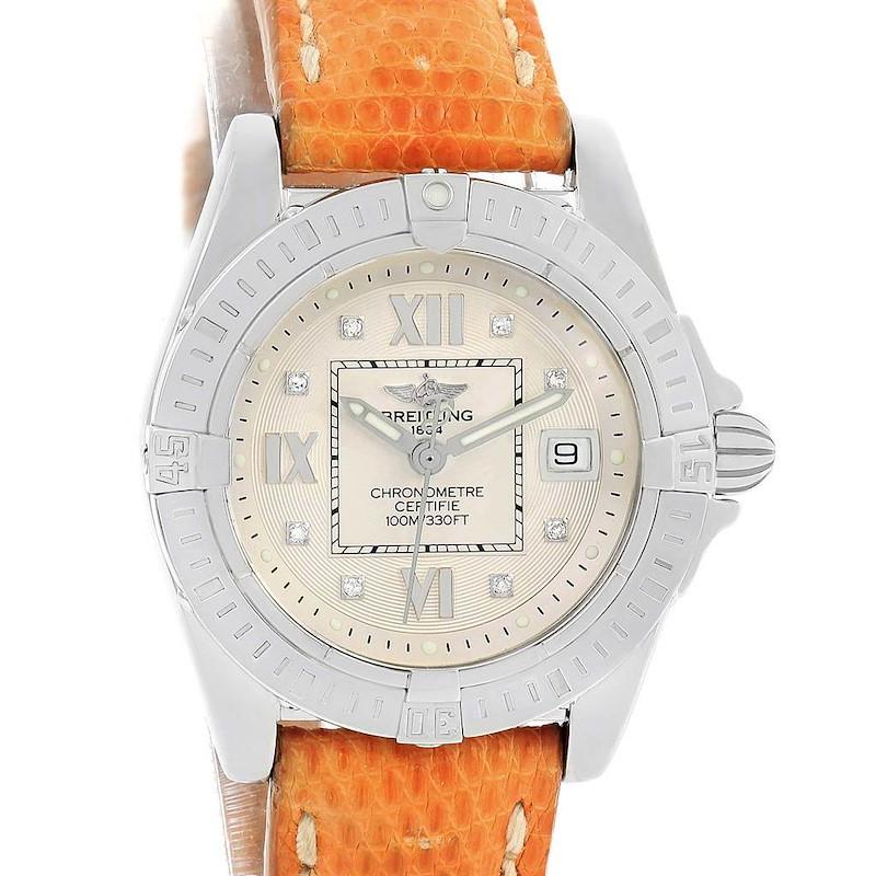 Breitling Windrider Cockpit Diamond Dial Brown Strap Ladies Watch A71356 SwissWatchExpo