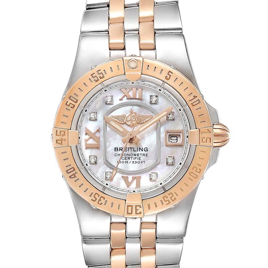 Breitling Galactic 30 Steel Rose Gold Diamond Dial Womens Watch C71340 SwissWatchExpo