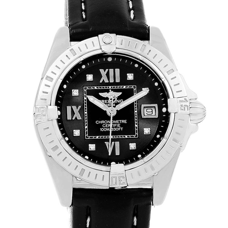 Breitling Windrider Cockpit Black Diamond Dial Ladies Watch A71356 SwissWatchExpo