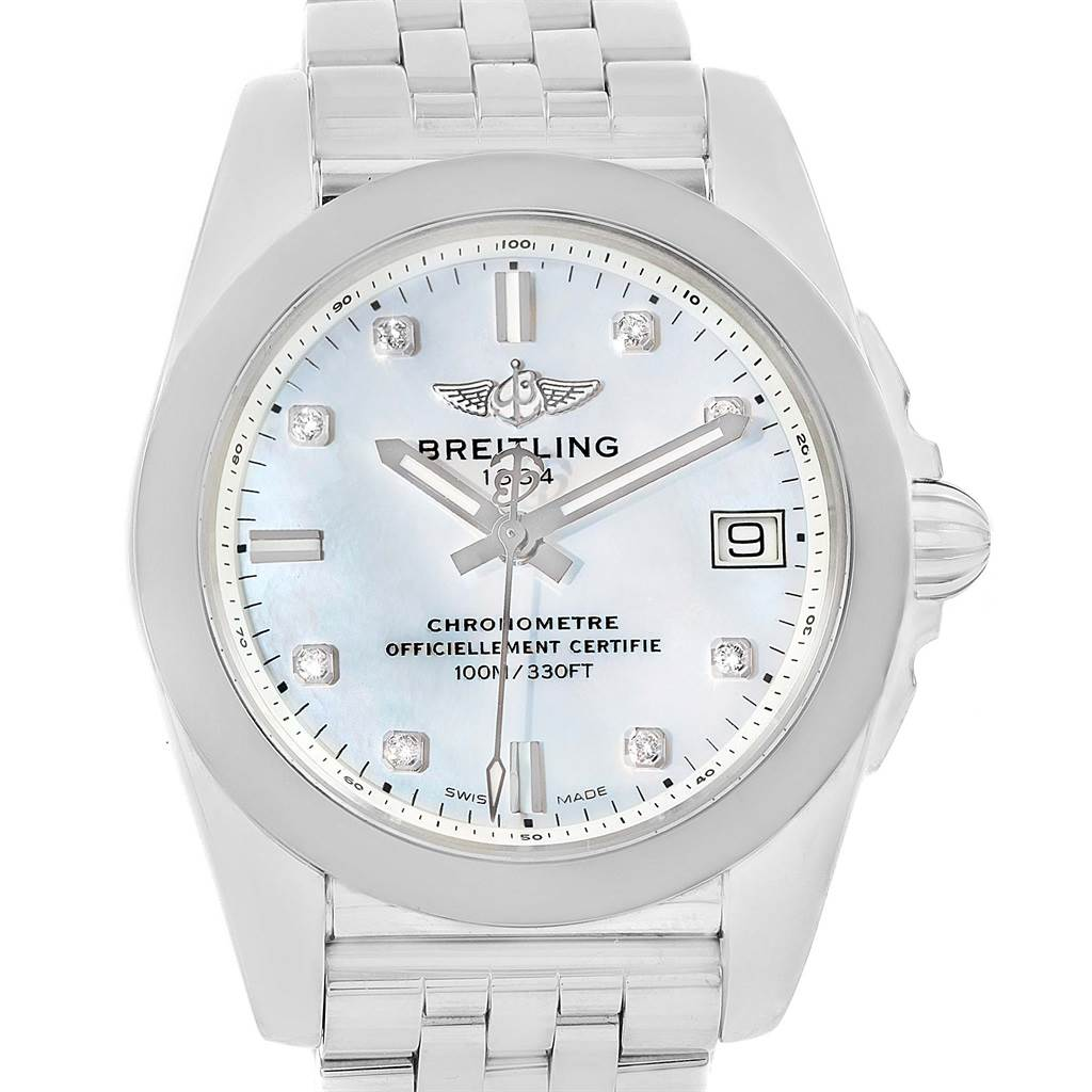 14726 Breitling Galactic 36 SleekT Steel MOP Diamond Dial Watch W74330 SwissWatchExpo
