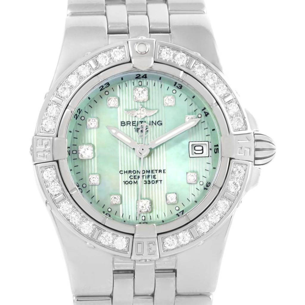 15088 Breitling Starliner Green Mother of Pearl Diamond Ladies Watch A71340 SwissWatchExpo