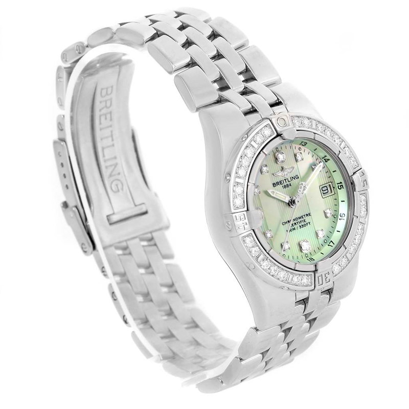 Breitling Starliner Green Mother of Pearl Diamond Ladies Watch A71340 SwissWatchExpo