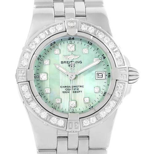 Photo of Breitling Starliner Green Mother of Pearl Diamond Ladies Watch A71340