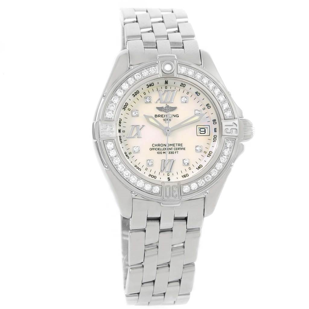 Breitling B-Class MOP Diamond Dial Bezel Womens Watch A71365 SwissWatchExpo