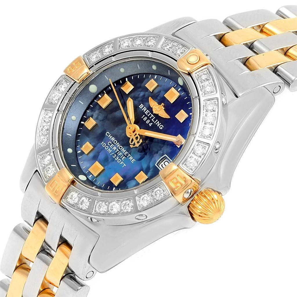 Breitling Callisto Ladies Blue Mother of Pearl Diamond Watch B72345 SwissWatchExpo