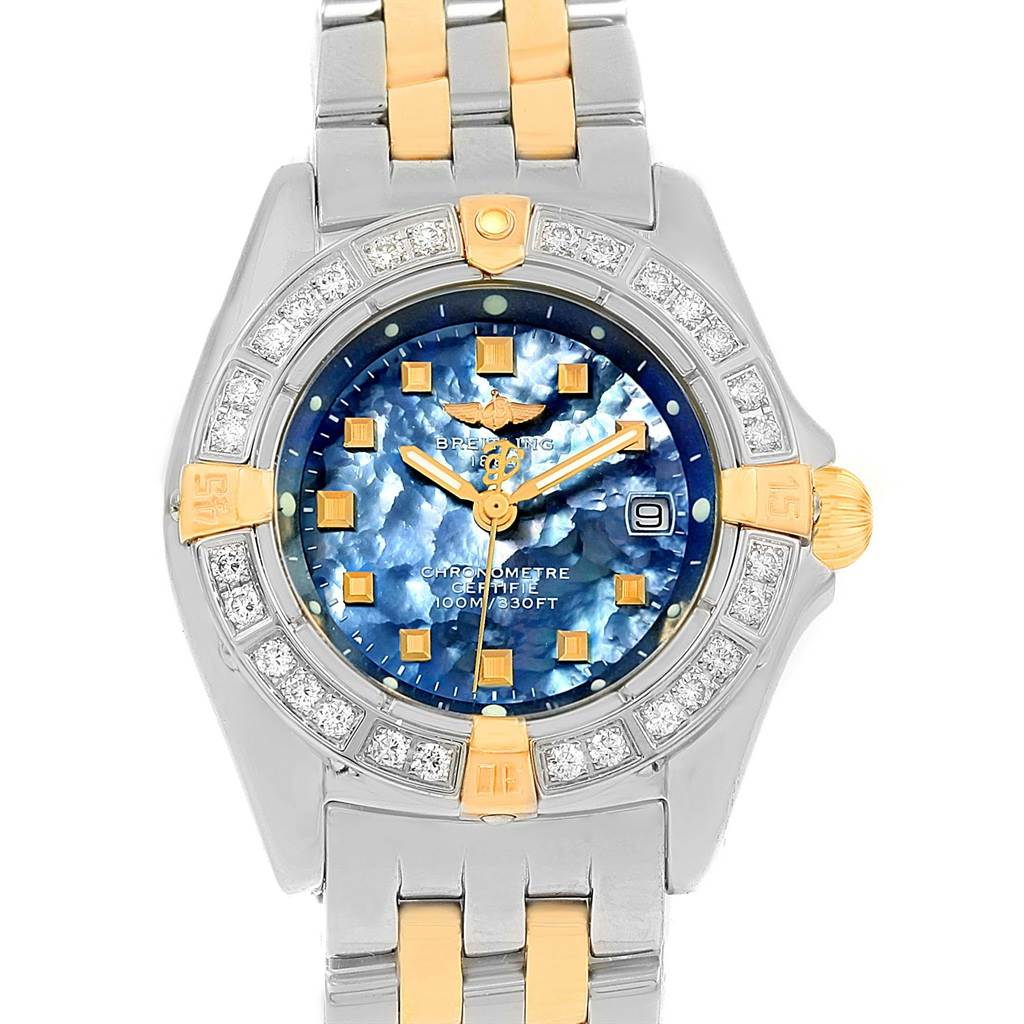 15162 Breitling Callisto Ladies Blue Mother of Pearl Diamond Watch B72345 SwissWatchExpo