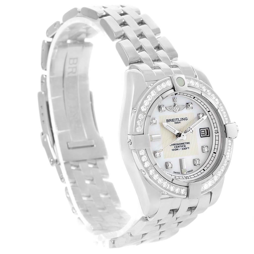 15273 Breitling Cockpit Mother Pearl Diamond Womens Watch A71356 Unworn SwissWatchExpo