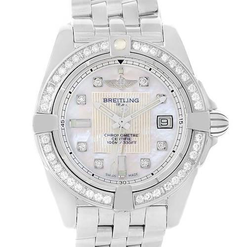 Photo of Breitling Cockpit Mother Pearl Diamond Womens Watch A71356 Unworn