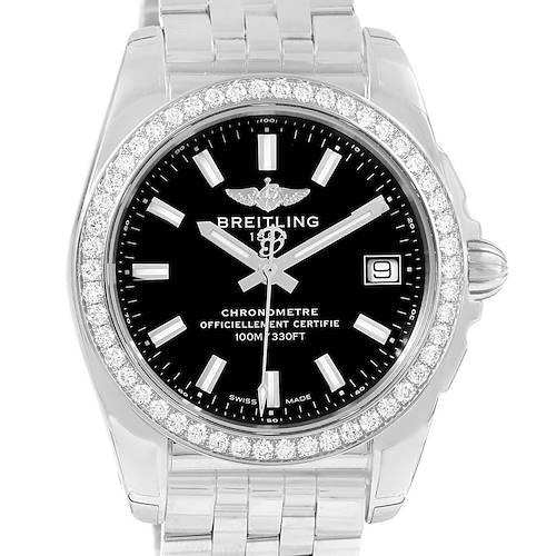 Photo of Breitling Galactic 36 Black Dial Diamond Ladies Watch W74330 Unworn