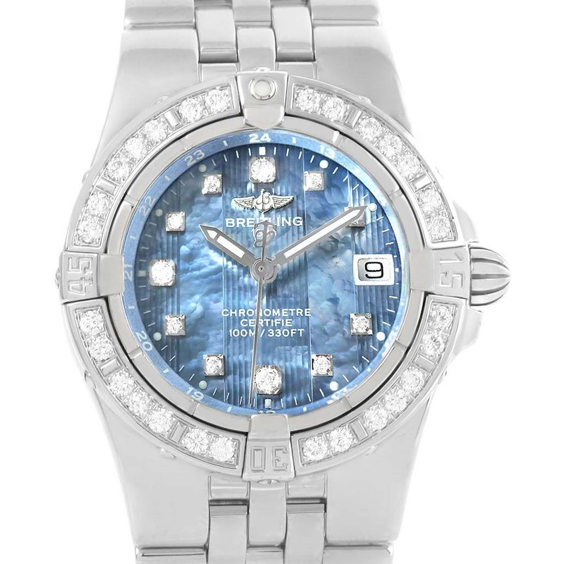 Breitling Starliner Blue Mother of Pearl Diamond Watch A71340 Box Papers SwissWatchExpo