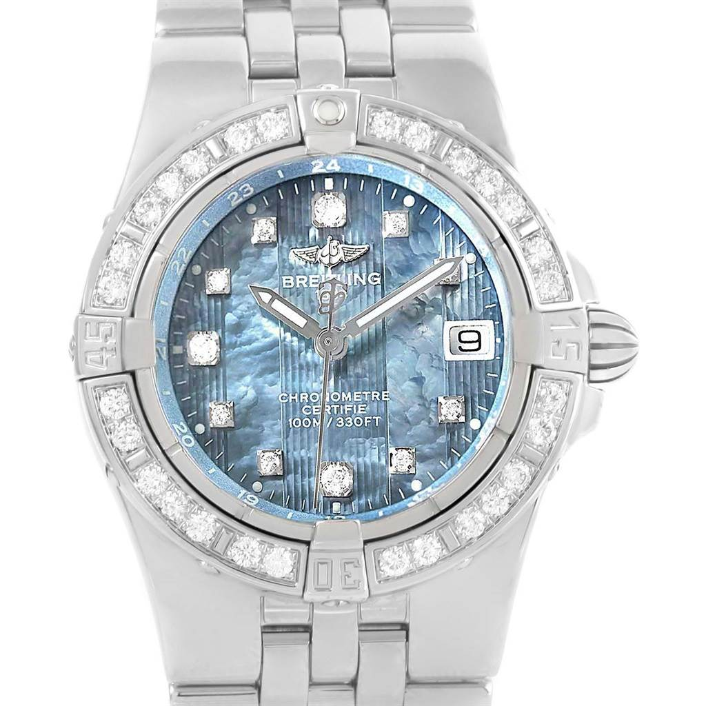Breitling Starliner Blue MOP Diamond Ladies Watch A71340 Box Papers SwissWatchExpo