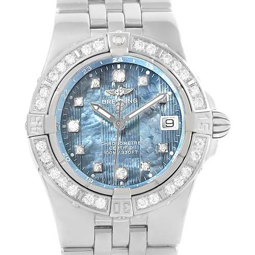 Photo of Breitling Starliner Blue MOP Diamond Ladies Watch A71340 Box Papers