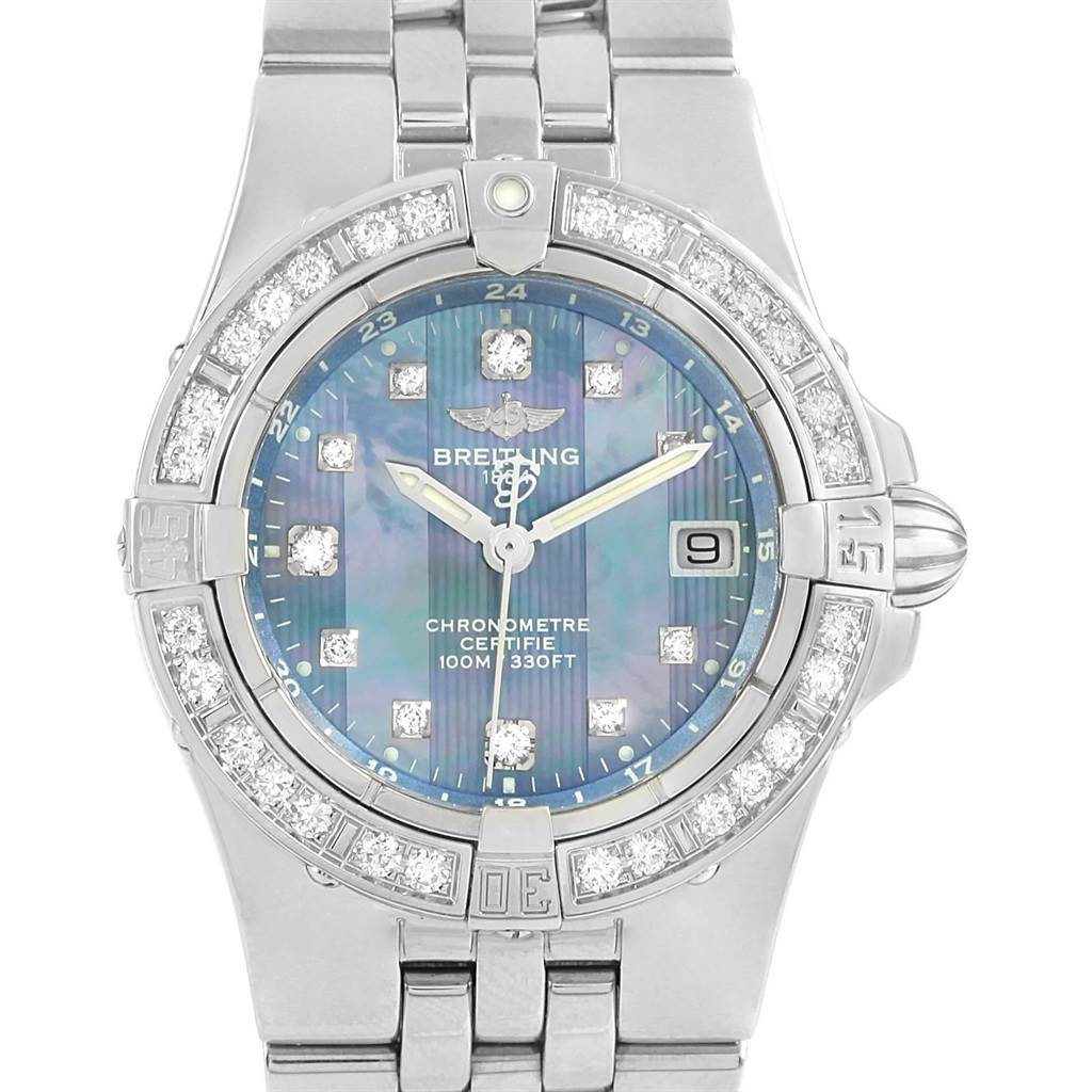 Photo of Breitling Starliner Blue MOP Diamonds Ladies Watch A71340 Box Papers