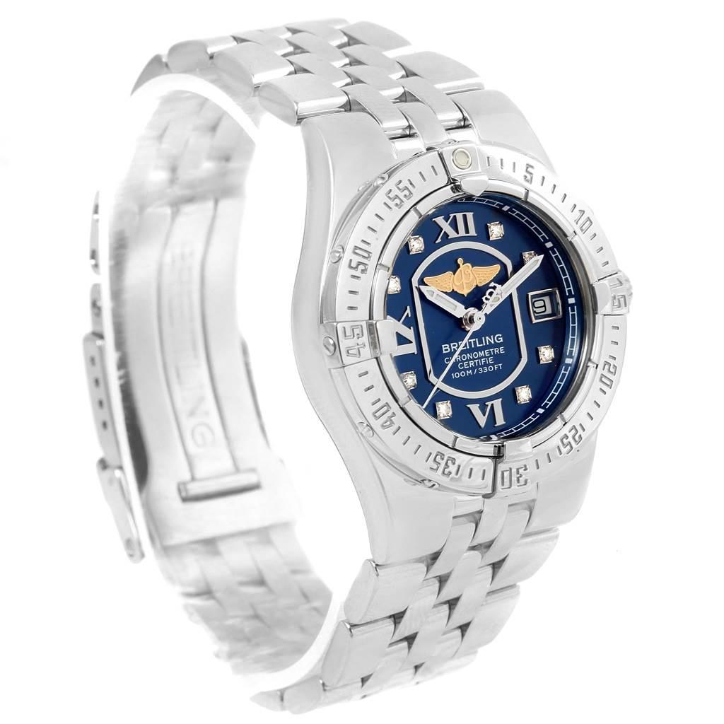 16103 Breitling Starliner Blue Diamond Dial Steel Ladies Watch A71340 SwissWatchExpo