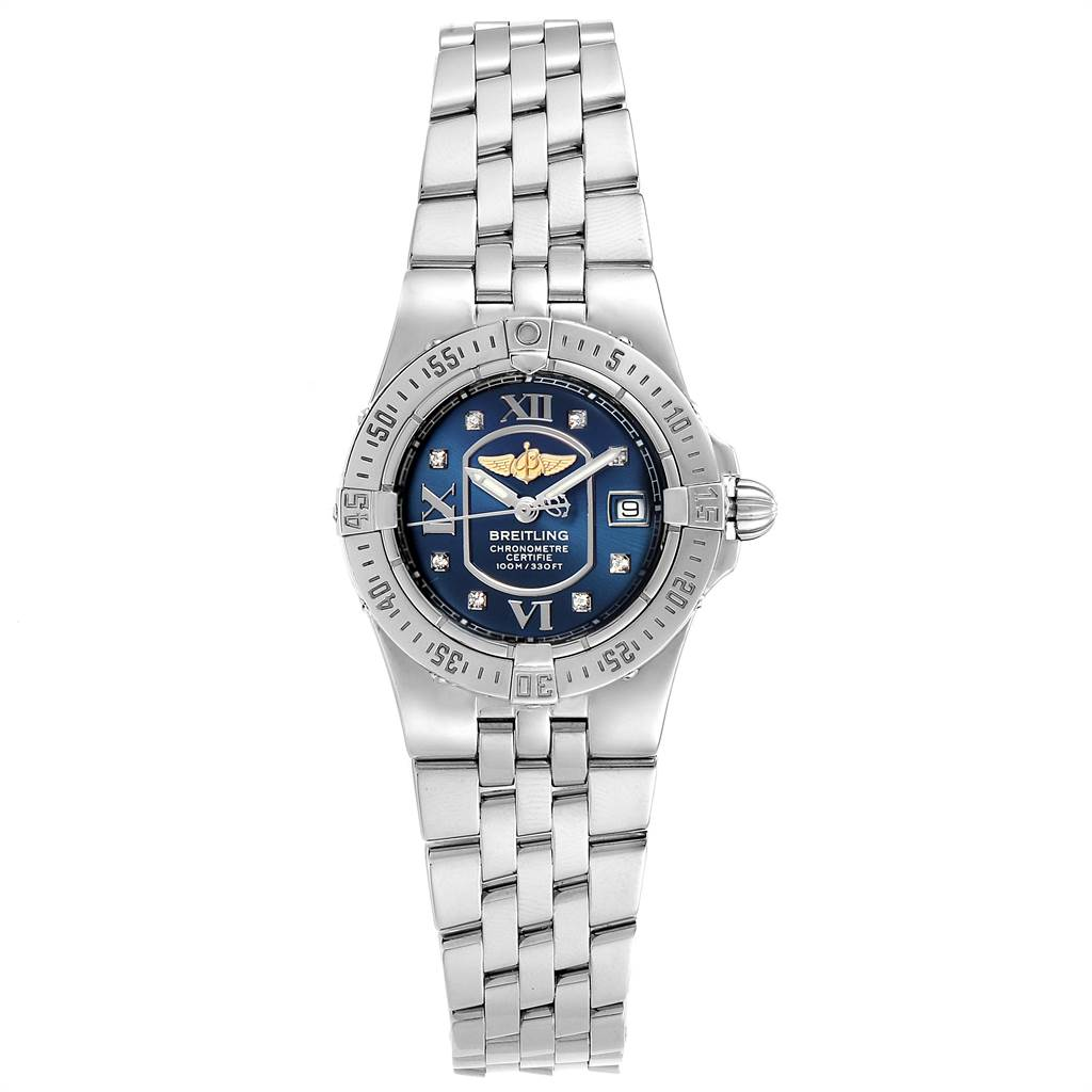 16103 Breitling Starliner Blue Diamond Dial Steel Ladies Watch A71340 SwissWatchExpo