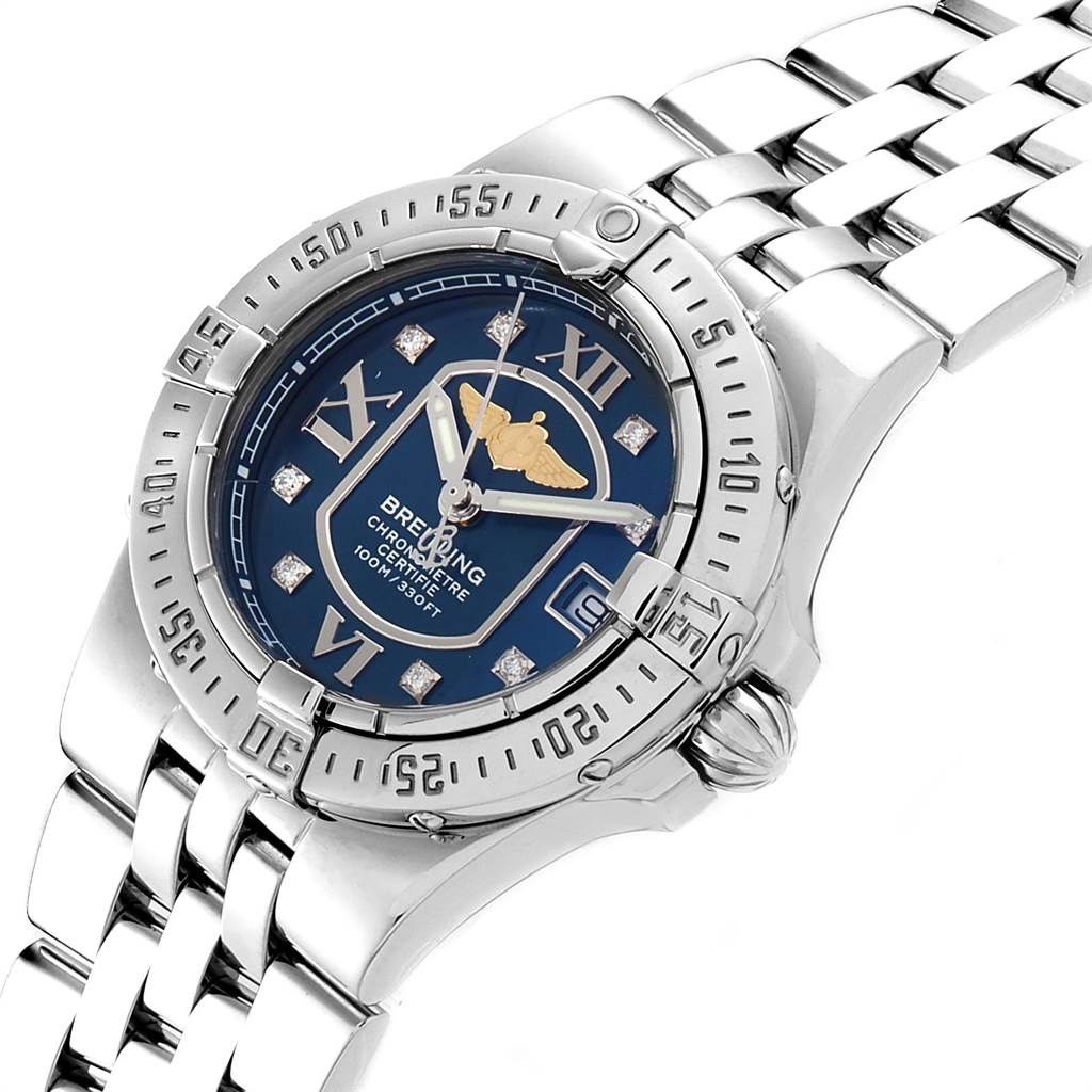 Breitling Starliner Blue Diamond Dial Steel Ladies Watch A71340 SwissWatchExpo
