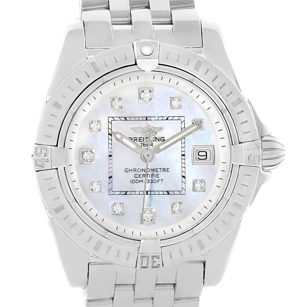 Photo of Breitling Cockpit Mother of Pearl Diamond Steel Ladies Watch A71356