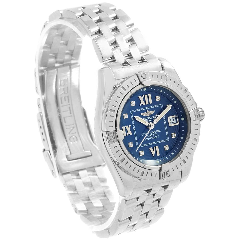 Breitling Windrider Cockpit Blue Diamond Dial Ladies Watch A71356 Box Papers SwissWatchExpo