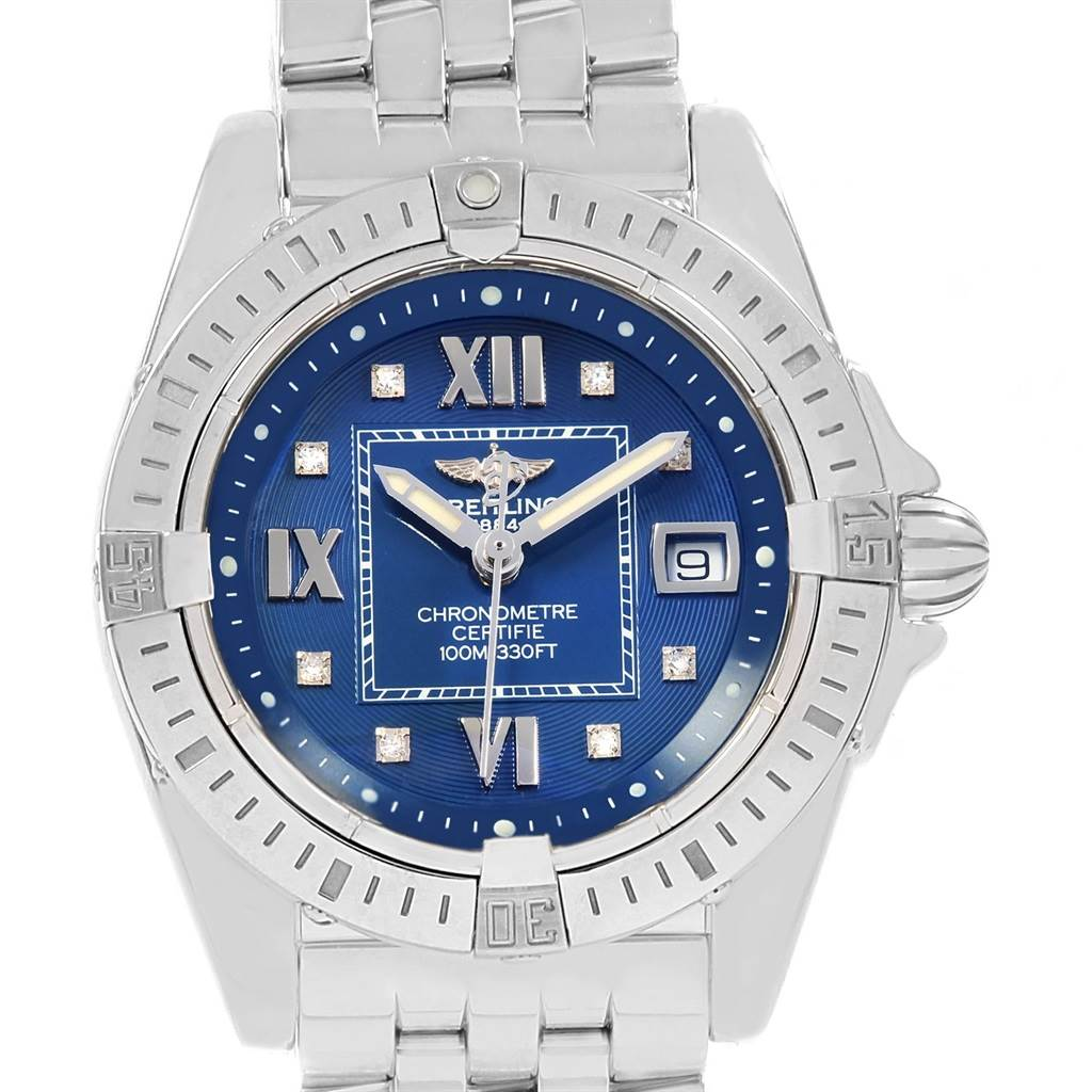 Photo of Breitling Windrider Cockpit Blue Diamond Dial Ladies Watch A71356 Box Papers