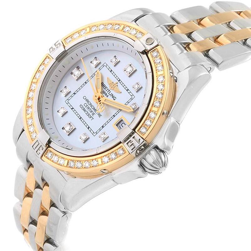 Breitling Cockpit Ladies Steel 18K Yellow Gold Diamond Watch D71356 SwissWatchExpo