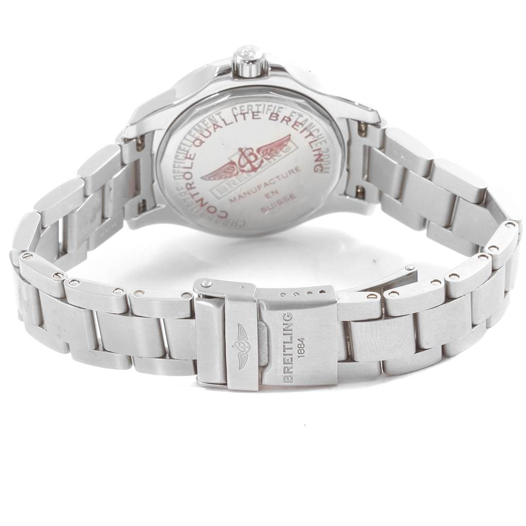 Breitling Colt Blue Dial Diamond Bezel Steel Ladies Watch A77388 SwissWatchExpo