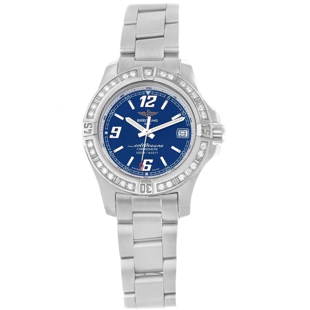 Breitling Colt Blue Dial Diamond Bezel Steel Ladies Watch A77388 SwissWatchExpo