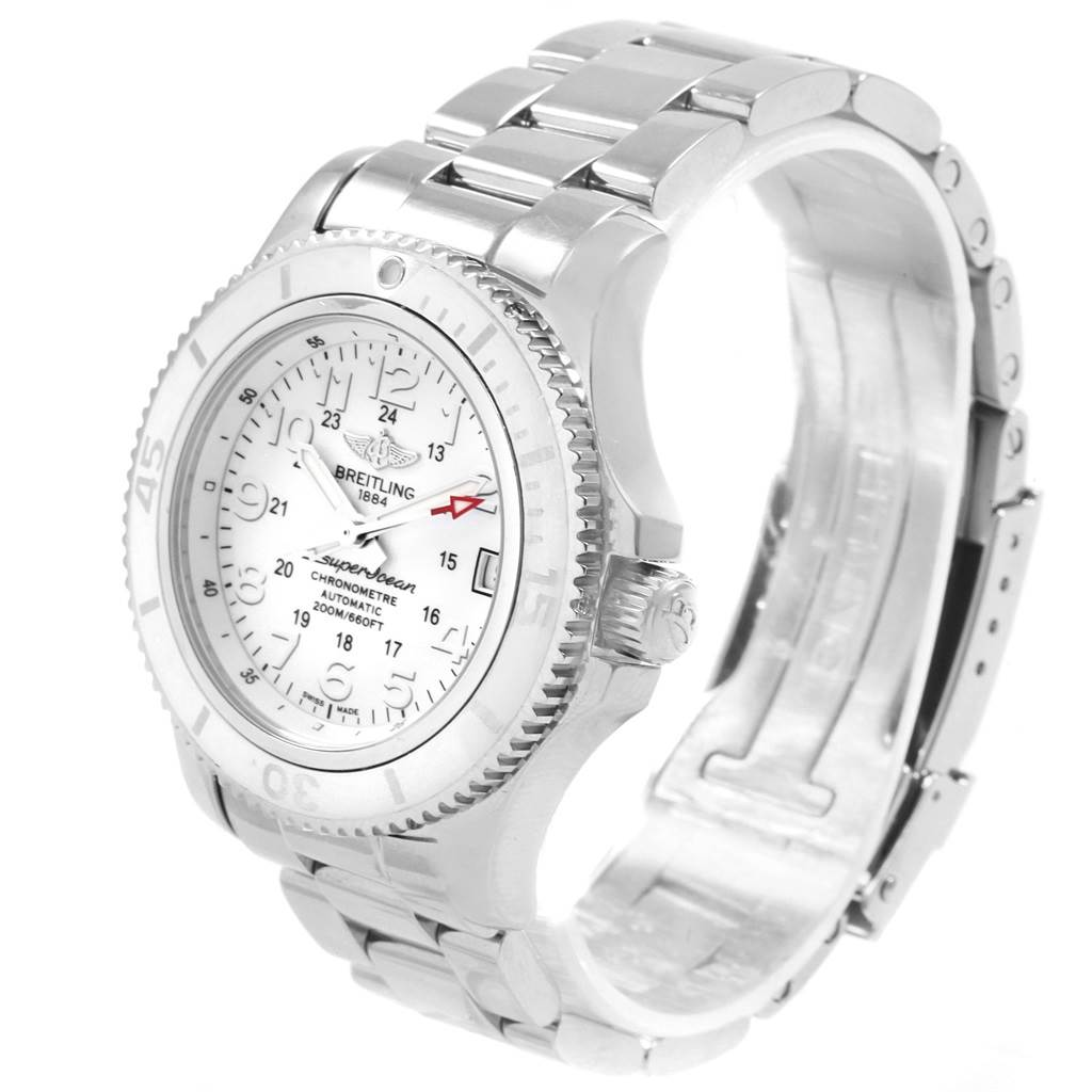 Breitling Superocean II 36 Hurricane White Steel Ladies Watch A17312 SwissWatchExpo