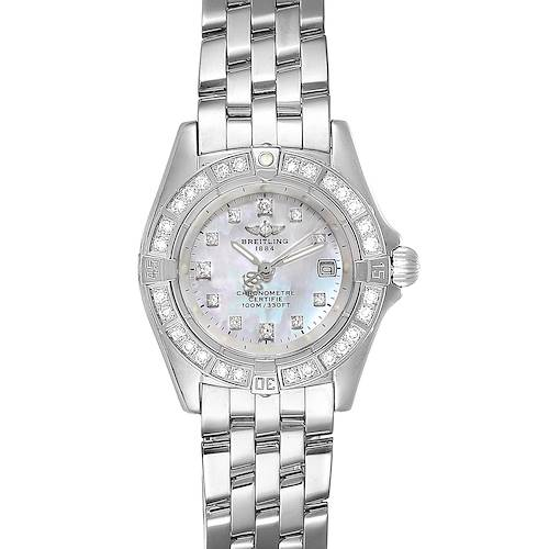 Breitling Callistino 18K White Gold MOP Diamond Ladies Watch J72345 Box