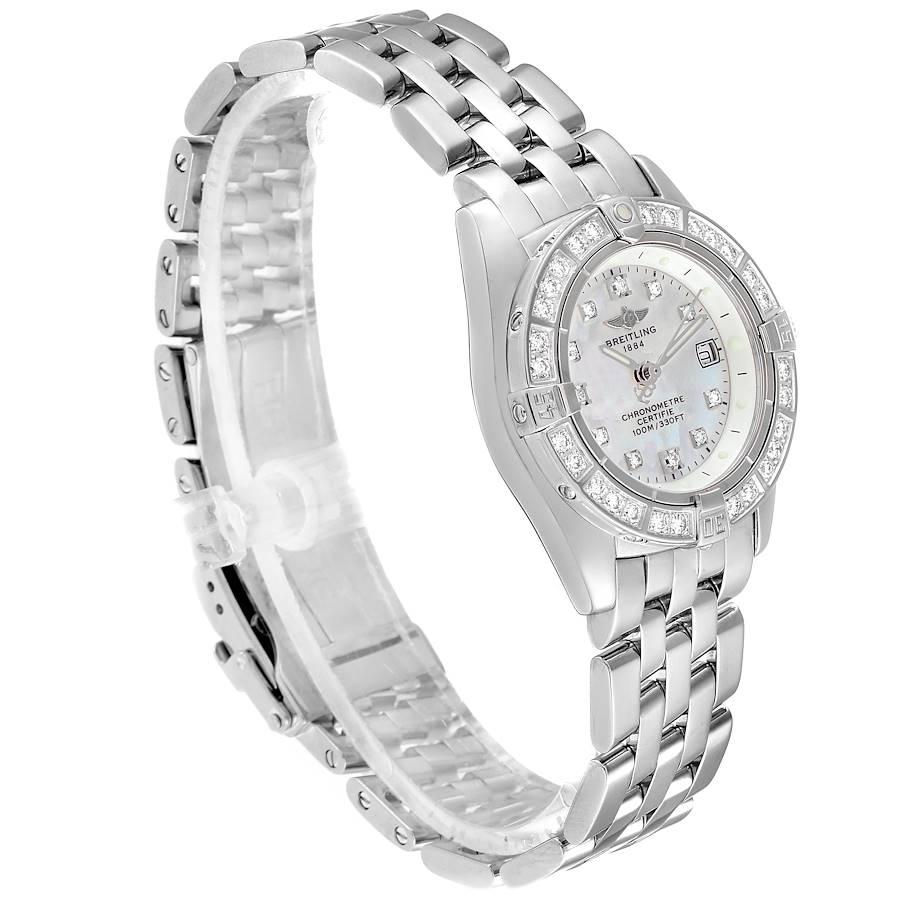 Breitling Callistino 18K White Gold MOP Diamond Ladies Watch J72345 Box SwissWatchExpo