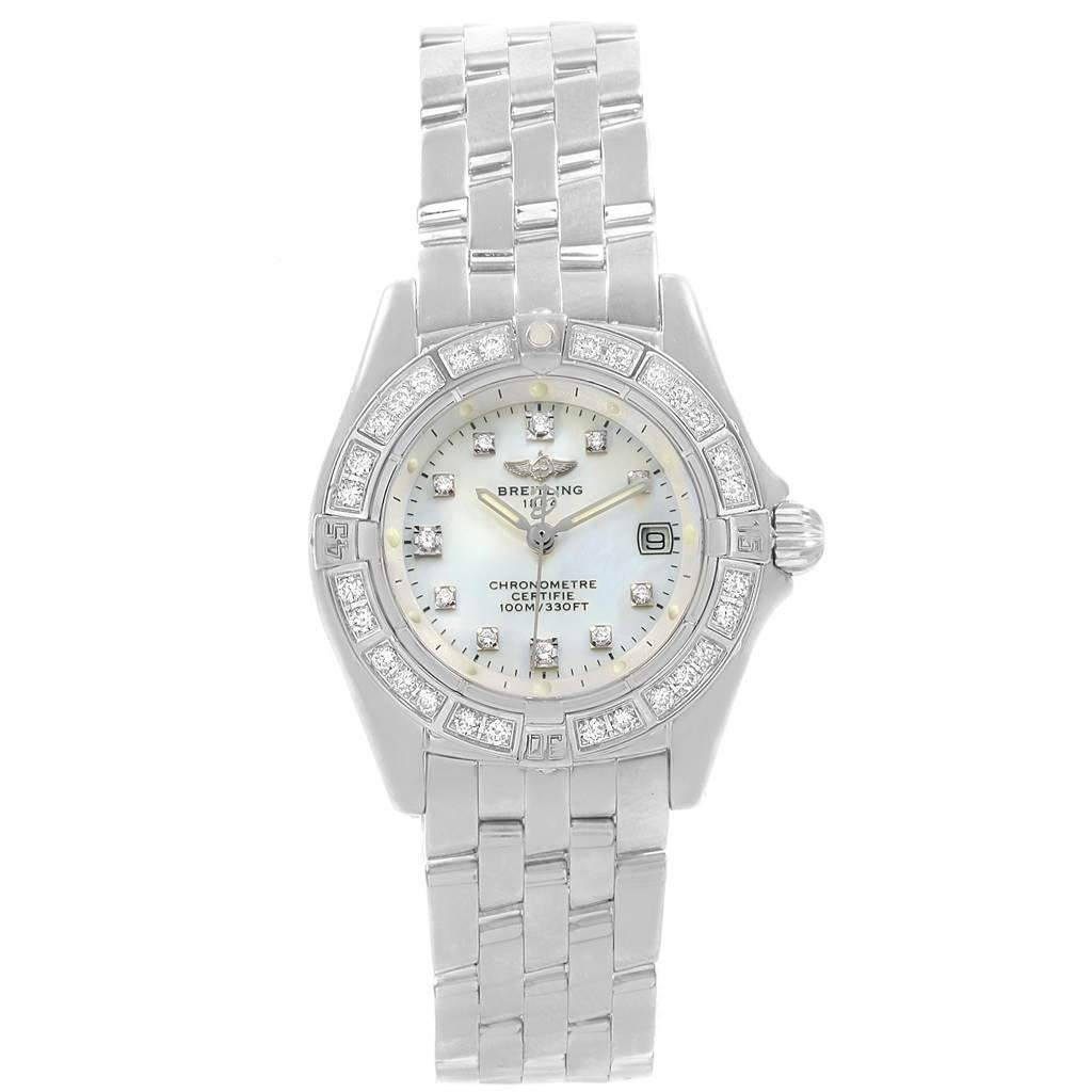 19406 Breitling Callistino White Gold MOP Diamond Ladies Watch J72345 SwissWatchExpo