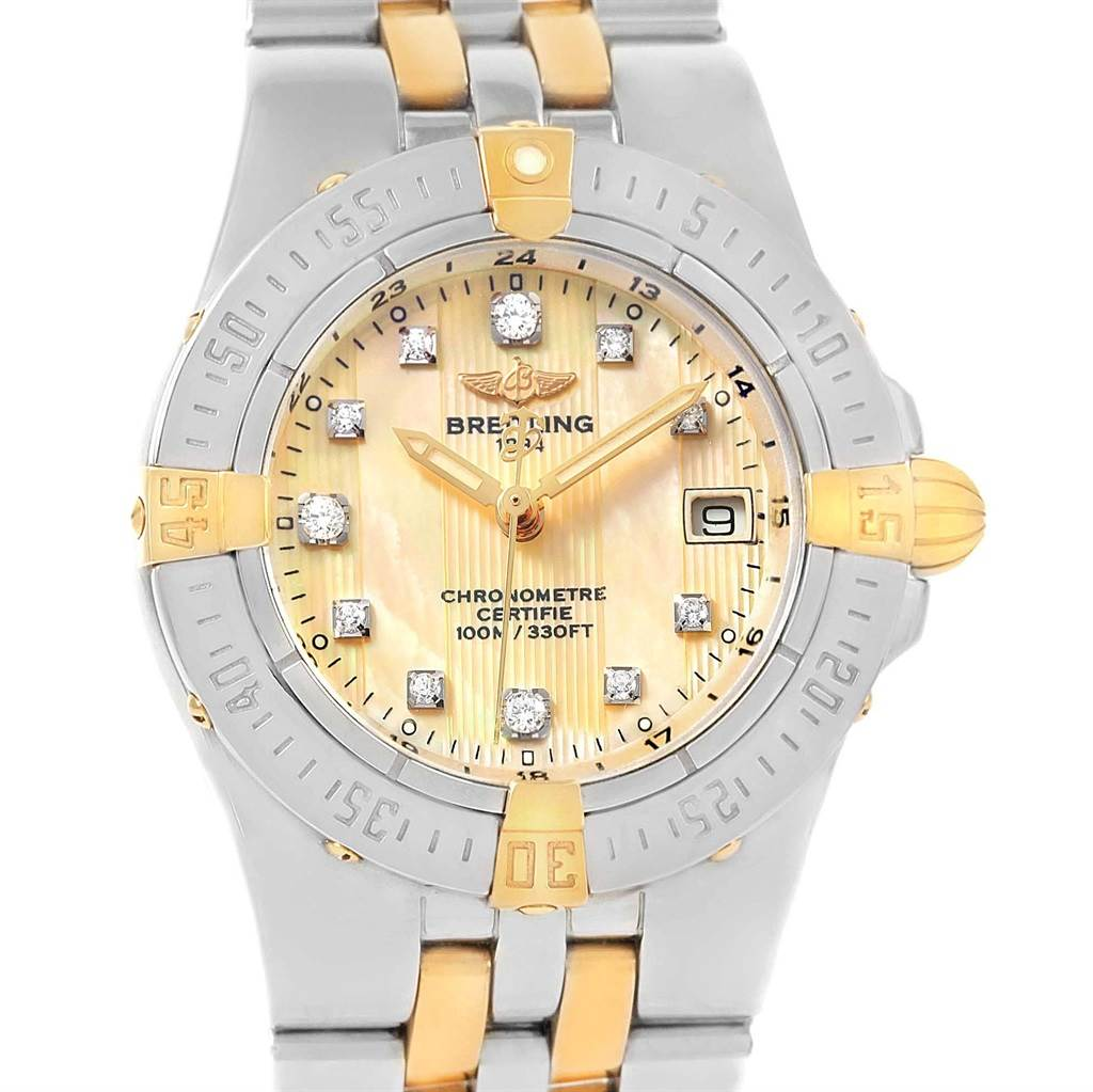 Breitling Starliner Steel Gold Yellow MOP Diamond Ladies Watch B71340 SwissWatchExpo