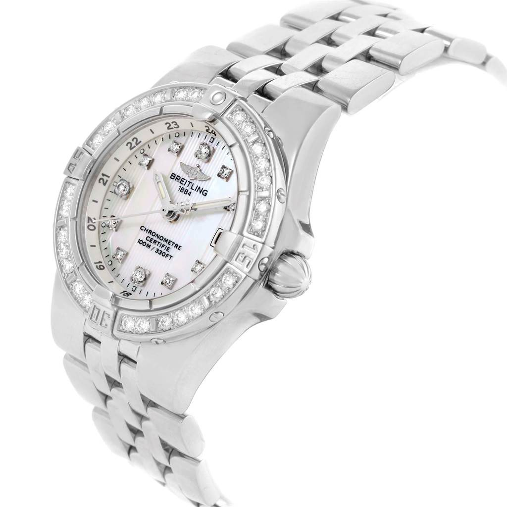 Breitling Starliner Mother of Pearl Diamond Ladies Watch A71340 SwissWatchExpo