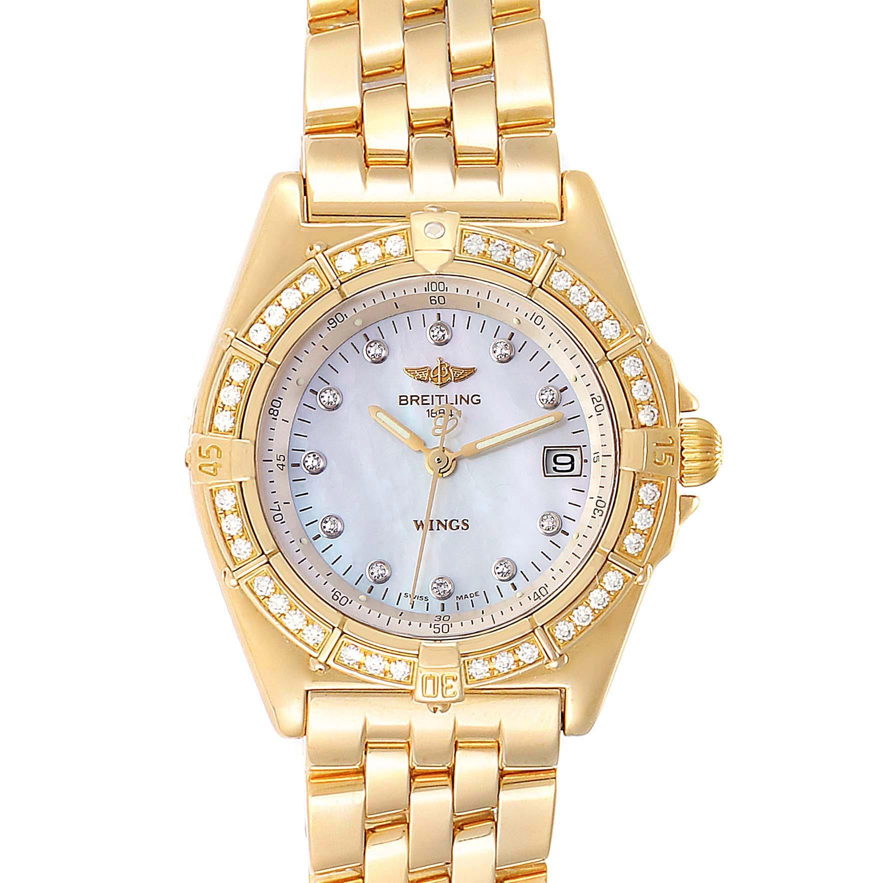 Photo of Breitling Windrider Yellow Gold MOP Diamond Ladies Watch K67050