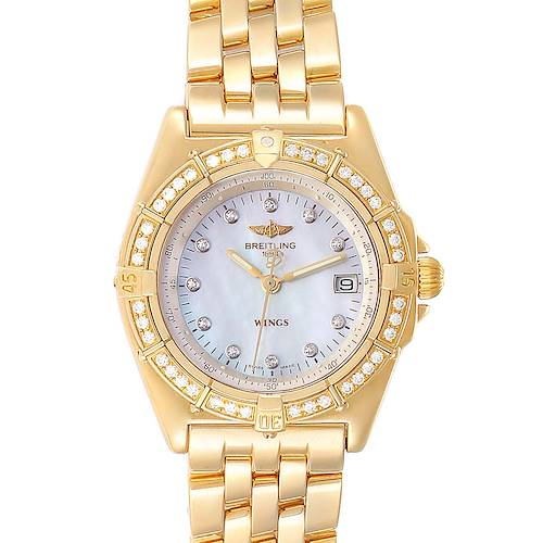 Photo of Breitling Windrider Yellow Gold MOP Diamond Ladies Watch K67050