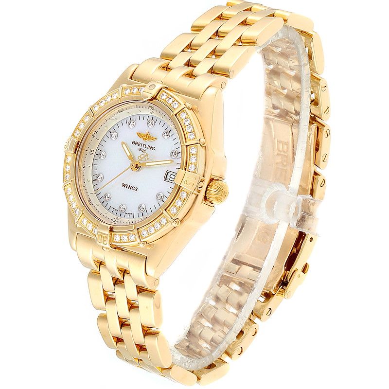 Breitling Windrider Yellow Gold MOP Diamond Ladies Watch K67050 SwissWatchExpo