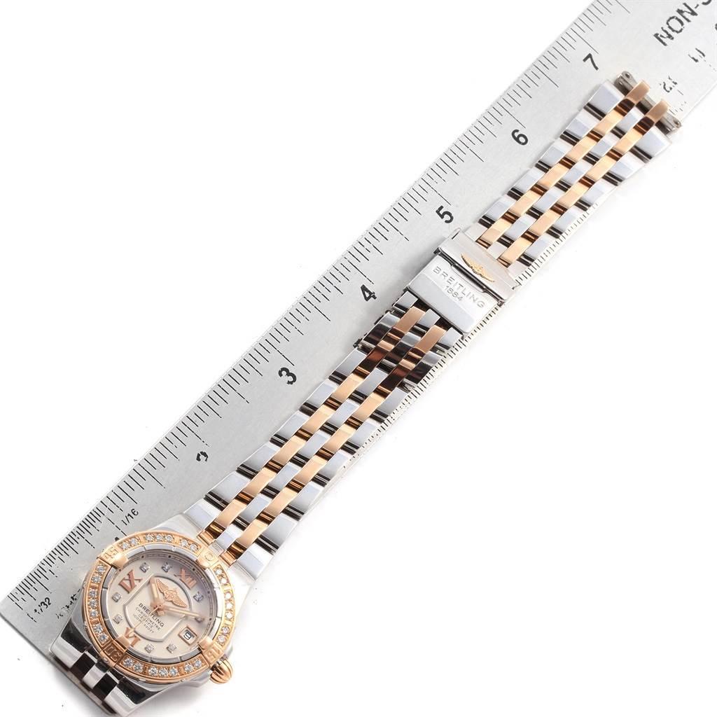 Breitling Galactic 30 Steel Rose Gold Diamond Womens Watch C71340 SwissWatchExpo